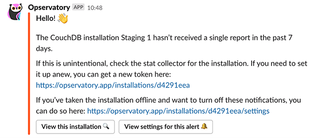 An Opservatory notification in Slack